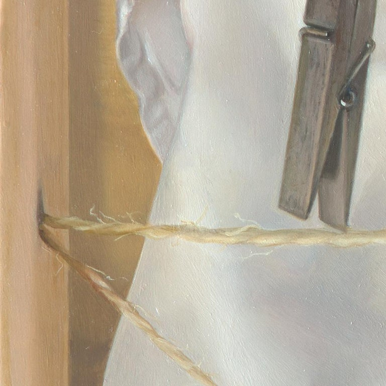 """""""The Tightrope Walkers"""", Clothes Pins' Performance, Symbolist Oil Painting - Beige Figurative Painting by Andrée Bars"""