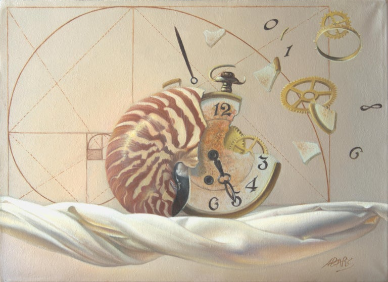 "Andrée Bars Figurative Painting - ""The Golden ratio"", Hand of Man not Worth that of Nature, symbolist Oil Painting"