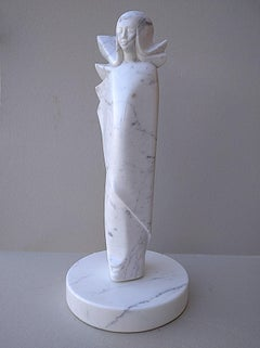 Angel, White Carrara Marble Stone Vertical Figurative Sculpture