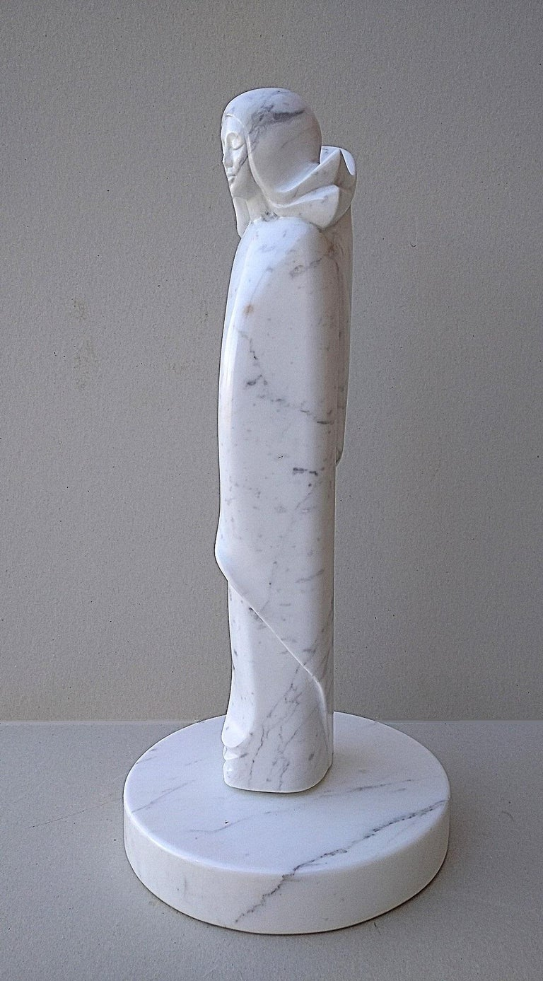 Angel, White Carrara Marble Stone Vertical Figurative Sculpture For Sale 1