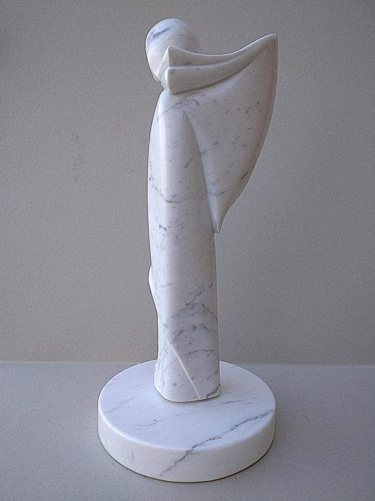 Angel, White Carrara Marble Stone Vertical Figurative Sculpture For Sale 2