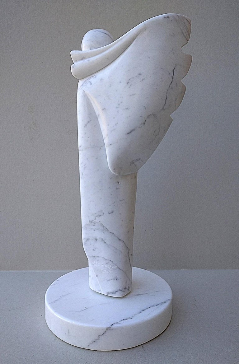 Angel, White Carrara Marble Stone Vertical Figurative Sculpture For Sale 3