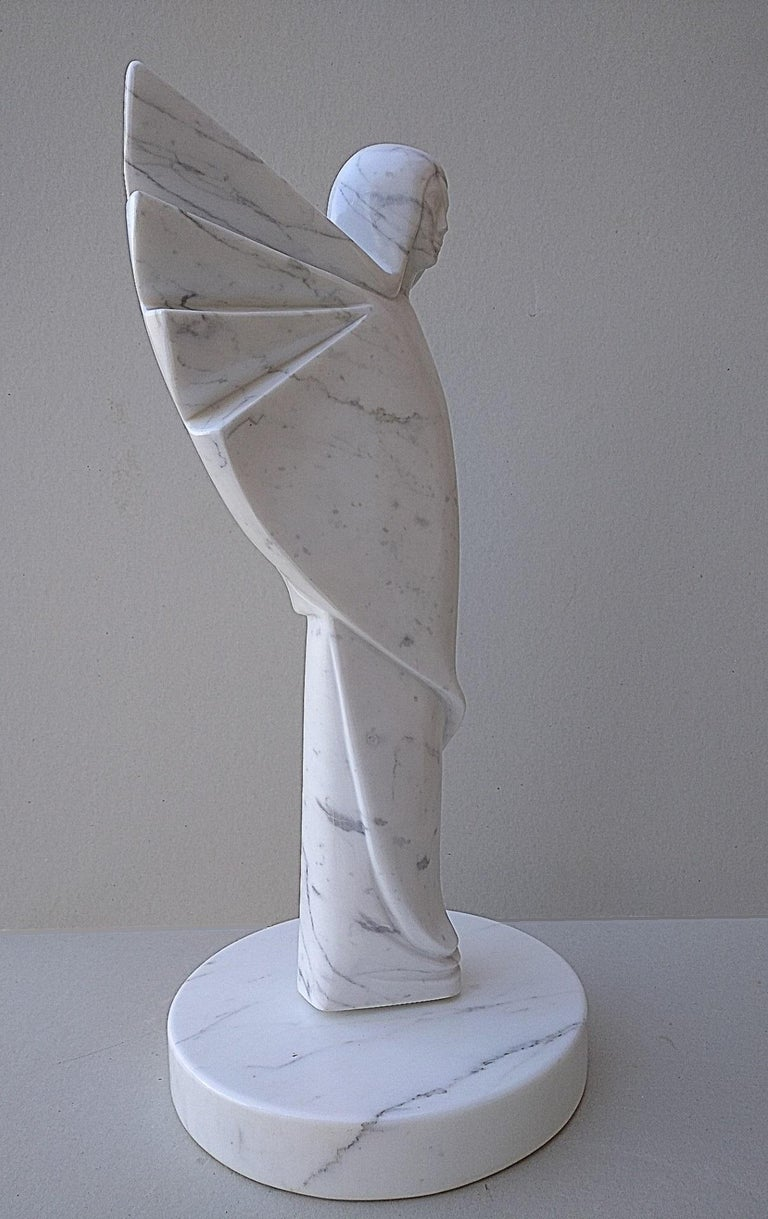 Angel, White Carrara Marble Stone Vertical Figurative Sculpture For Sale 5