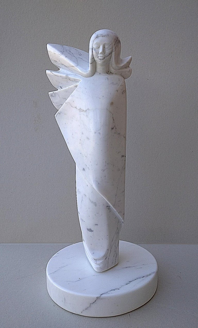 Angel, White Carrara Marble Stone Vertical Figurative Sculpture For Sale 6