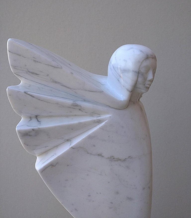 Angel, White Carrara Marble Stone Vertical Figurative Sculpture For Sale 8