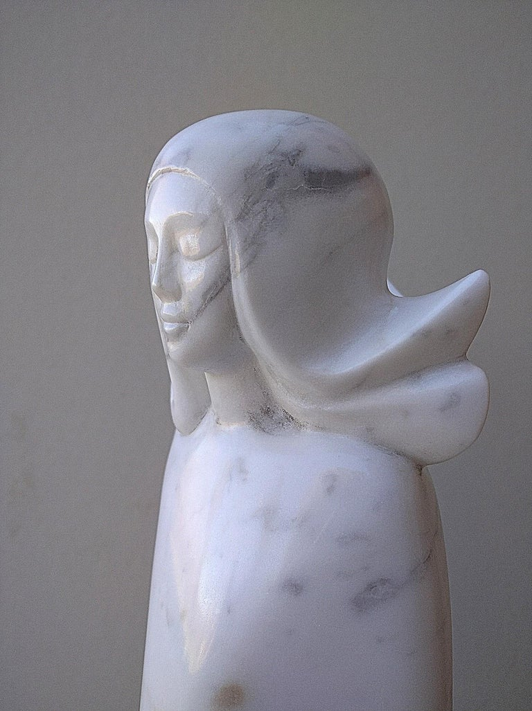 Angel, White Carrara Marble Stone Vertical Figurative Sculpture For Sale 9
