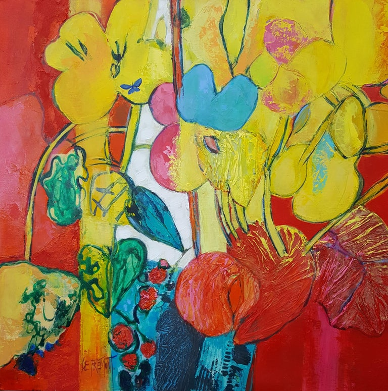 """Andrée de Frémont Figurative Painting - """"Flamboyant"""", Painting of Calme Harmony with White, Imperial & Imperious Yellow"""
