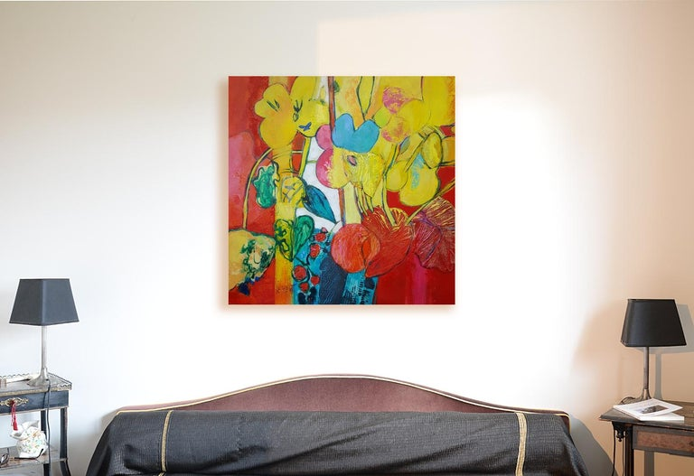 """""""Flamboyant"""", Painting of Calme Harmony with White, Imperial & Imperious Yellow - Brown Figurative Painting by Andrée de Frémont"""