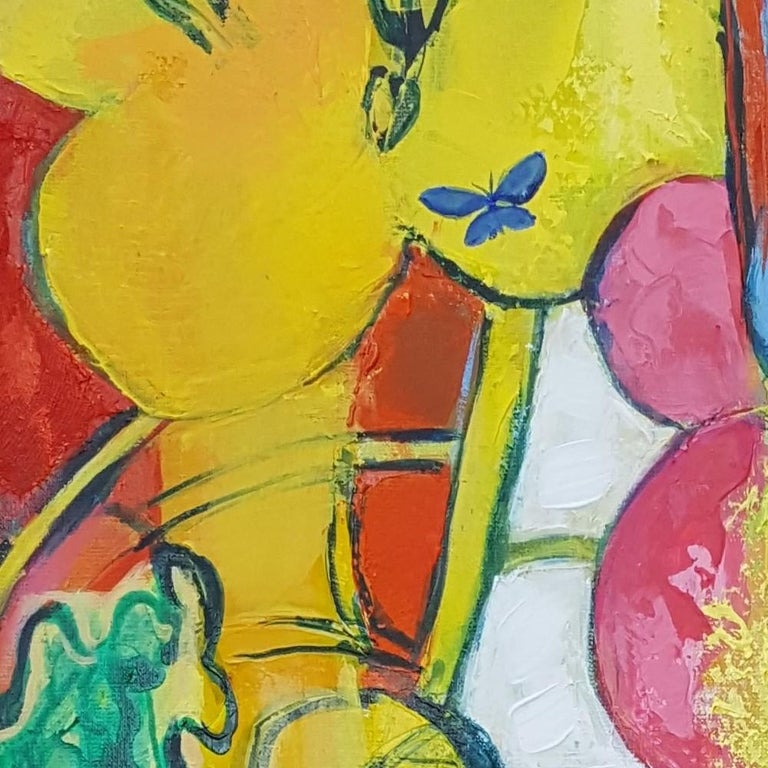 """""""Flamboyant"""", Painting of Calme Harmony with White, Imperial & Imperious Yellow For Sale 2"""
