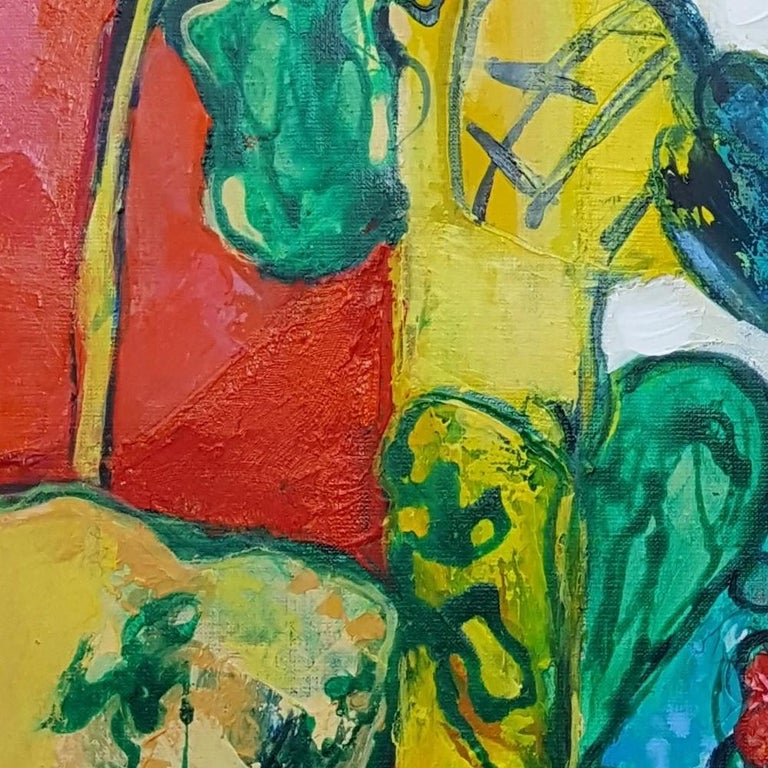 """""""Flamboyant"""", Painting of Calme Harmony with White, Imperial & Imperious Yellow For Sale 4"""