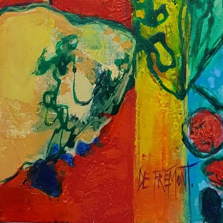 """""""Flamboyant"""", Painting of Calme Harmony with White, Imperial & Imperious Yellow For Sale 10"""