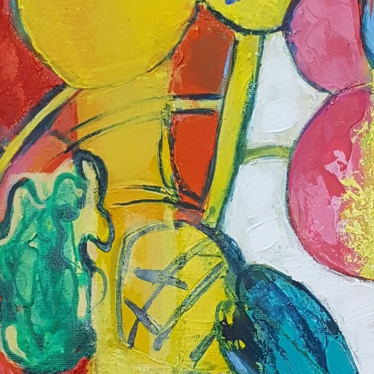 """""""Flamboyant"""", Painting of Calme Harmony with White, Imperial & Imperious Yellow For Sale 11"""