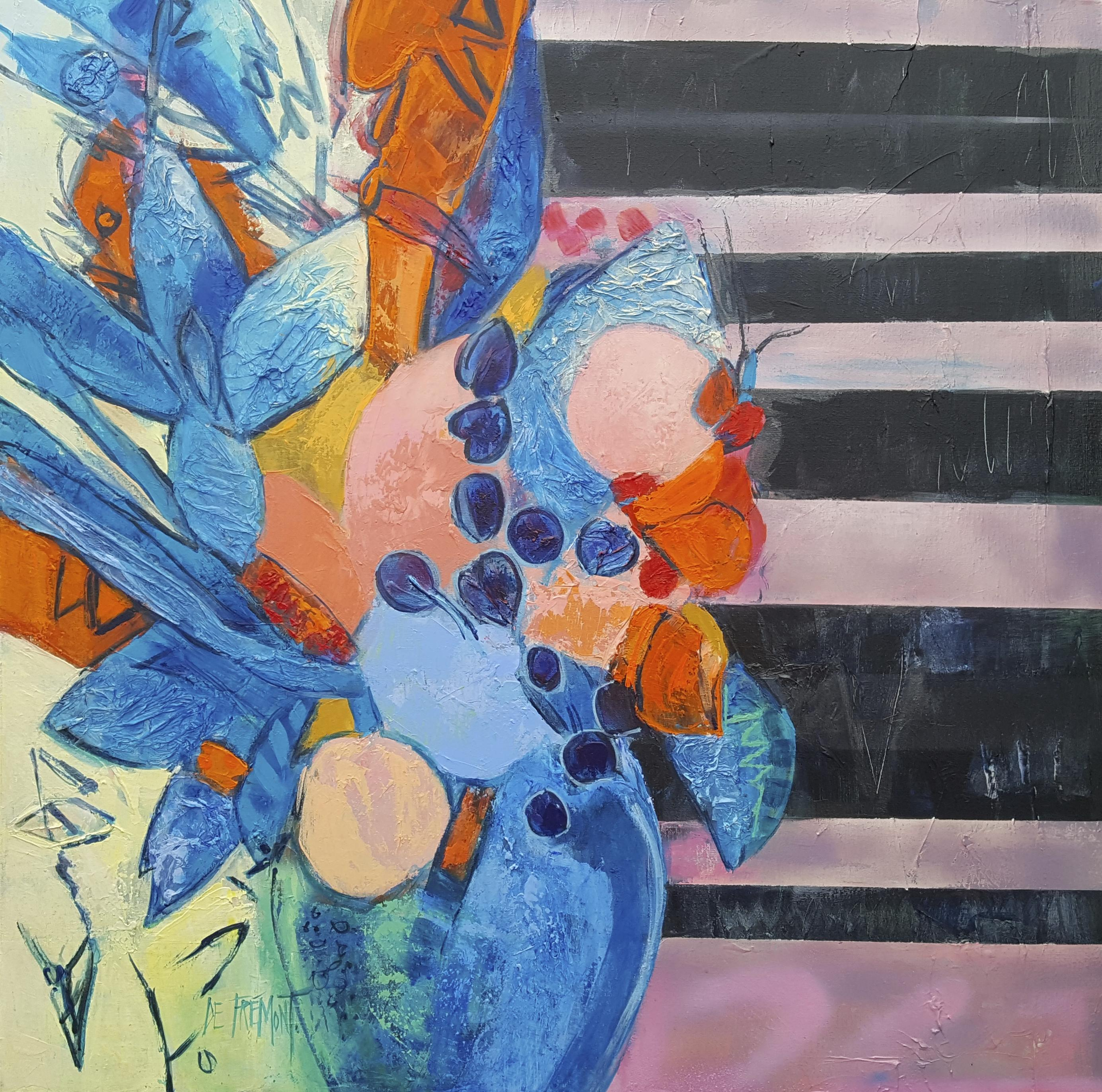 """""""Indian Summer"""", Mixed Media Bouquet in Blue, Extinct Orange and Naples Yellow"""