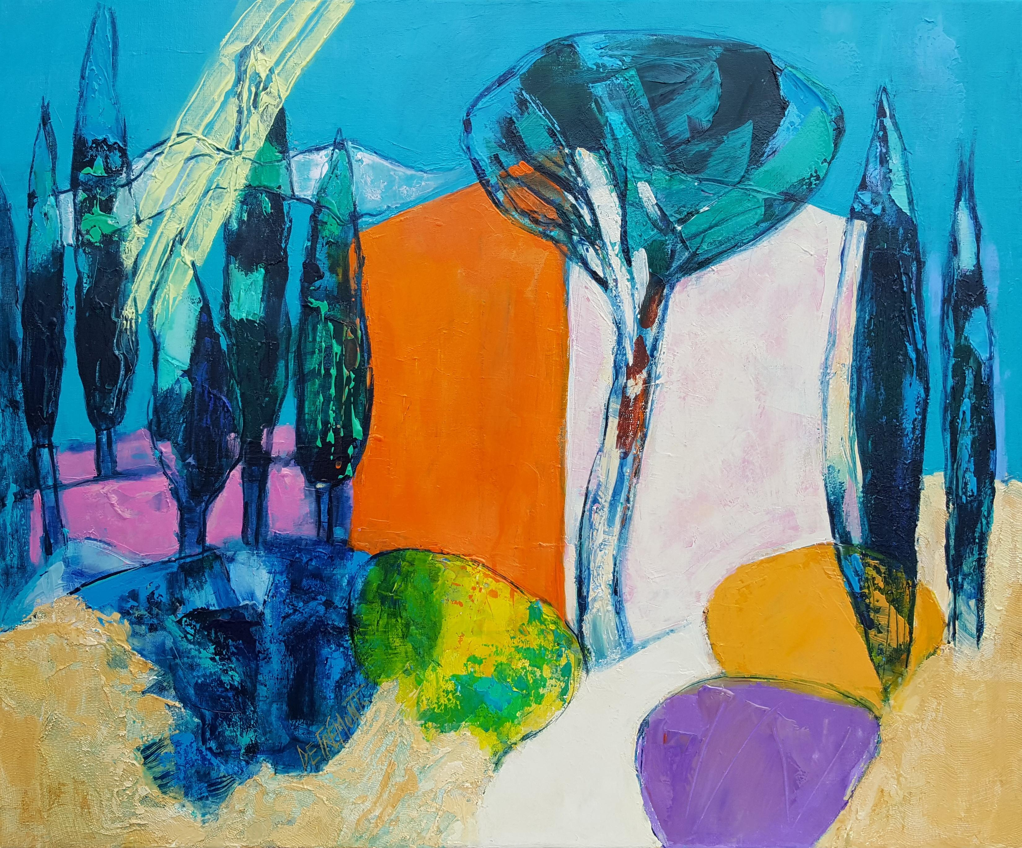 """""""Cypress Alley"""" French Riviera in the Light of the South, Mixed Media Painting"""