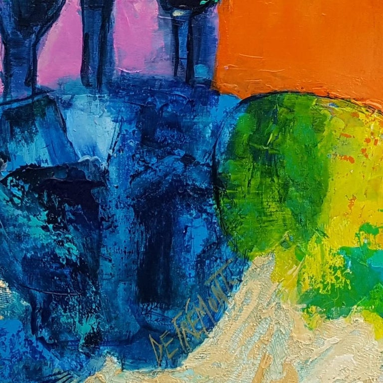 """""""Cypress Alley"""" French Riviera in the Light of the South, Mixed Media Painting For Sale 6"""