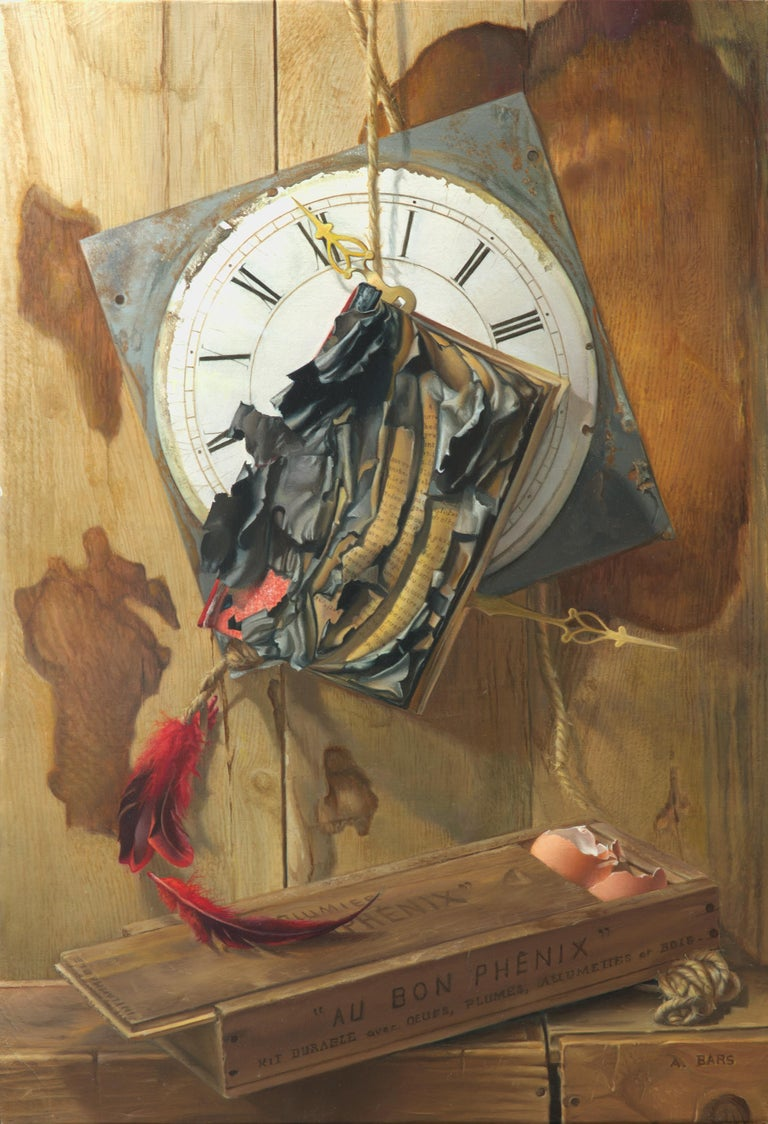 "Andrée Bars Figurative Painting - ""Good Phoenix"", Burning Book Symbolist Oil Painting"