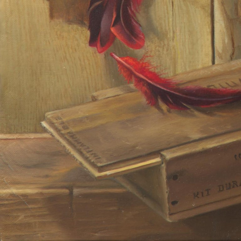 """""""Good Phoenix"""", Burning Book Symbolist Oil Painting - Brown Figurative Painting by Andrée Bars"""