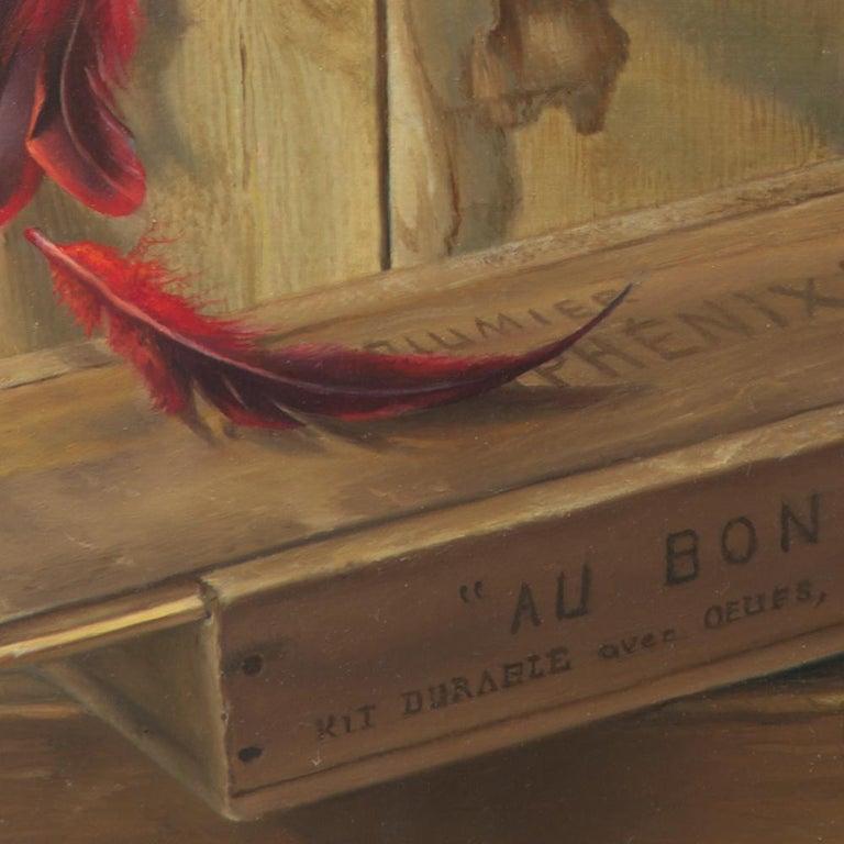 """Good Phoenix"", Burning Book Symbolist Oil Painting For Sale 3"