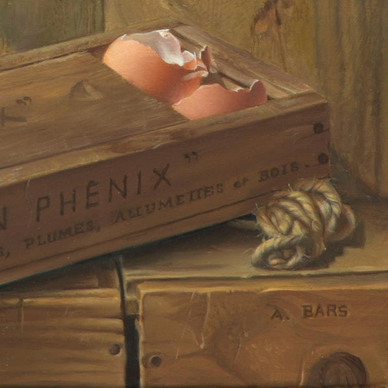 This oil painting by Andrée Bars also speaks of a famous myth: that of the phoenix rising from the ashes. It symbolizes rebirth and a hope of immortality in a way.   Andrée Bars is a French painter. Having been strictly trained for 4 years by the