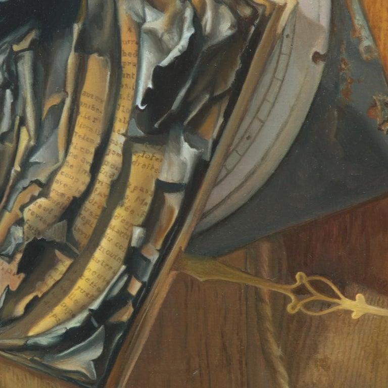 """Good Phoenix"", Burning Book Symbolist Oil Painting For Sale 4"
