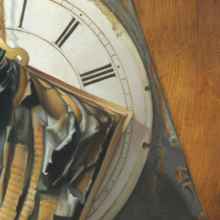 """Good Phoenix"", Burning Book Symbolist Oil Painting For Sale 1"