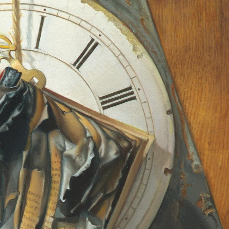 """Good Phoenix"", Burning Book Symbolist Oil Painting For Sale 5"