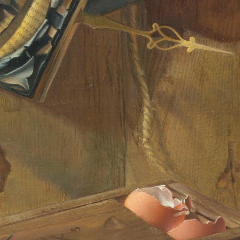 """Good Phoenix"", Burning Book Symbolist Oil Painting For Sale 2"