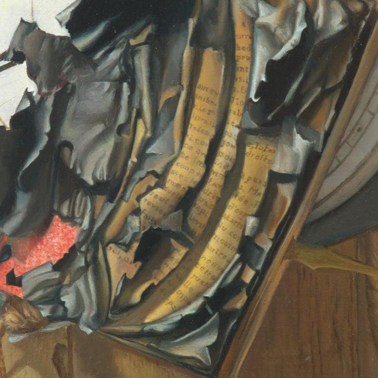 """Good Phoenix"", Burning Book Symbolist Oil Painting For Sale 10"