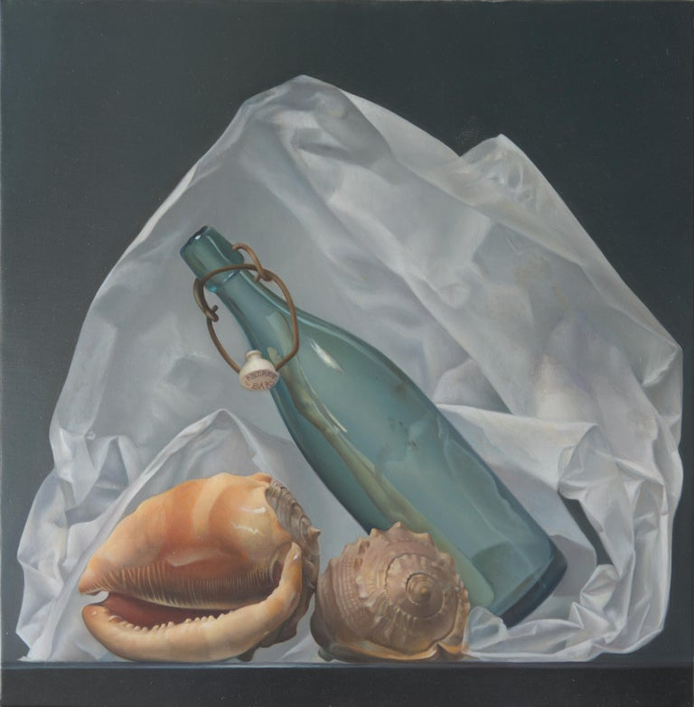 "Andrée Bars Figurative Painting - ""A Bottle in the Sea"",  Symbolist Oil Painting"