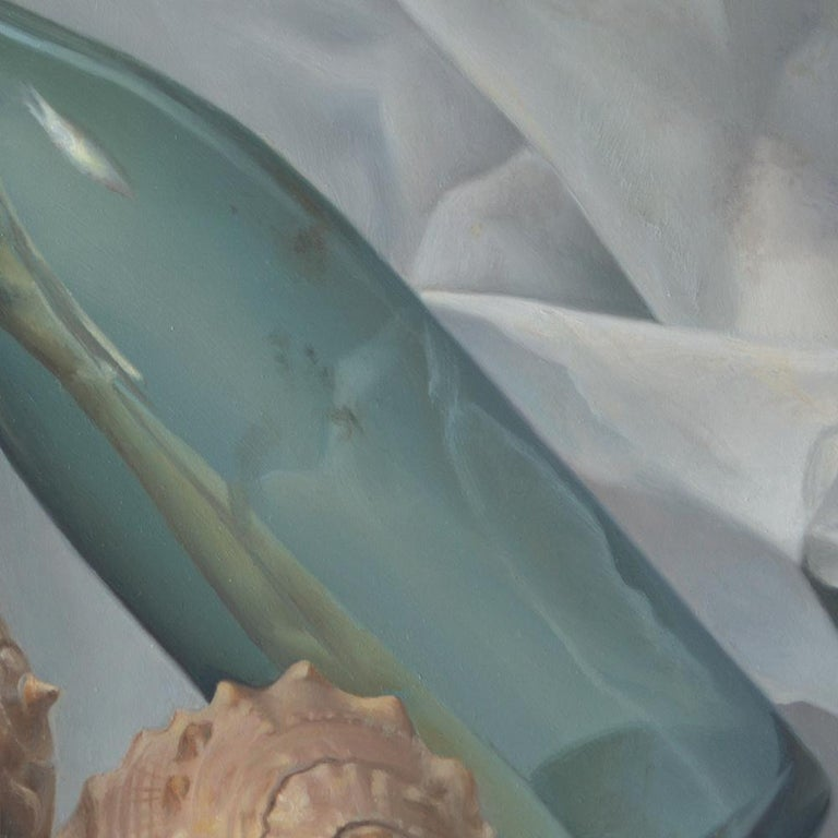 """A Bottle in the Sea"",  Symbolist Oil Painting For Sale 12"