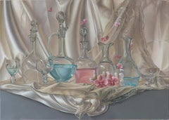"""Lightness"", Transparent Glassware on Satin Fabric Decor  Symbolist Oil Painting"