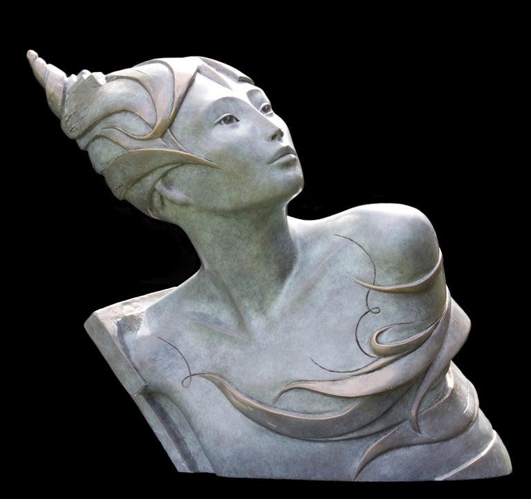 """Isabelle Jeandot Figurative Sculpture - """"Peaceful Warrior"""", Figurative Bronze Sculpture"""