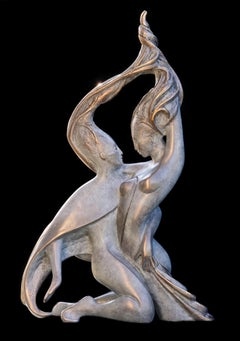"""Sap"", Vigor Nude Embracing Couple Bronze Sculpture"
