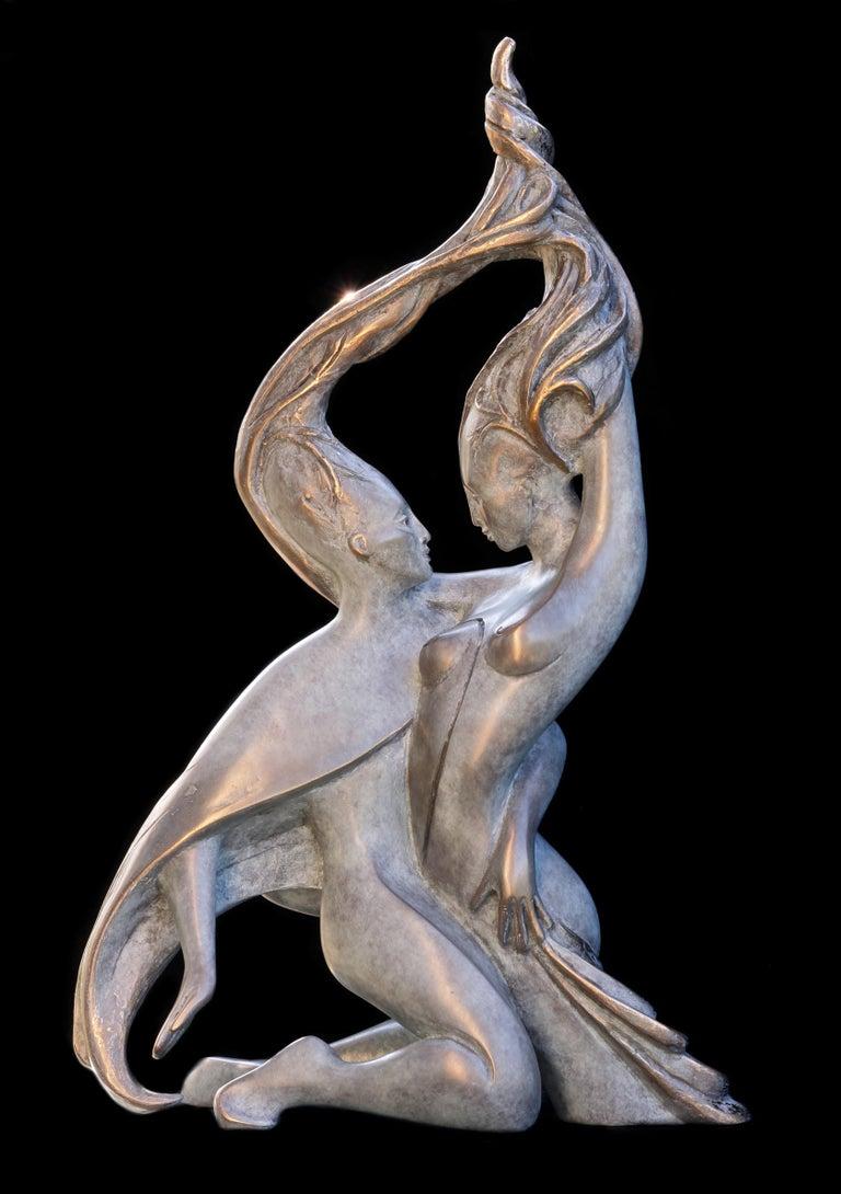 """Isabelle Jeandot Nude Sculpture - """"Sap"""", Vigor Nude Embracing Couple Bronze Sculpture"""