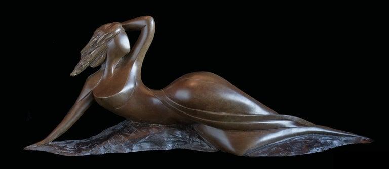 """Isabelle Jeandot Nude Sculpture - """"Odalisque"""", Nude Side Lying Woman Figurative Bronze Sculpture"""