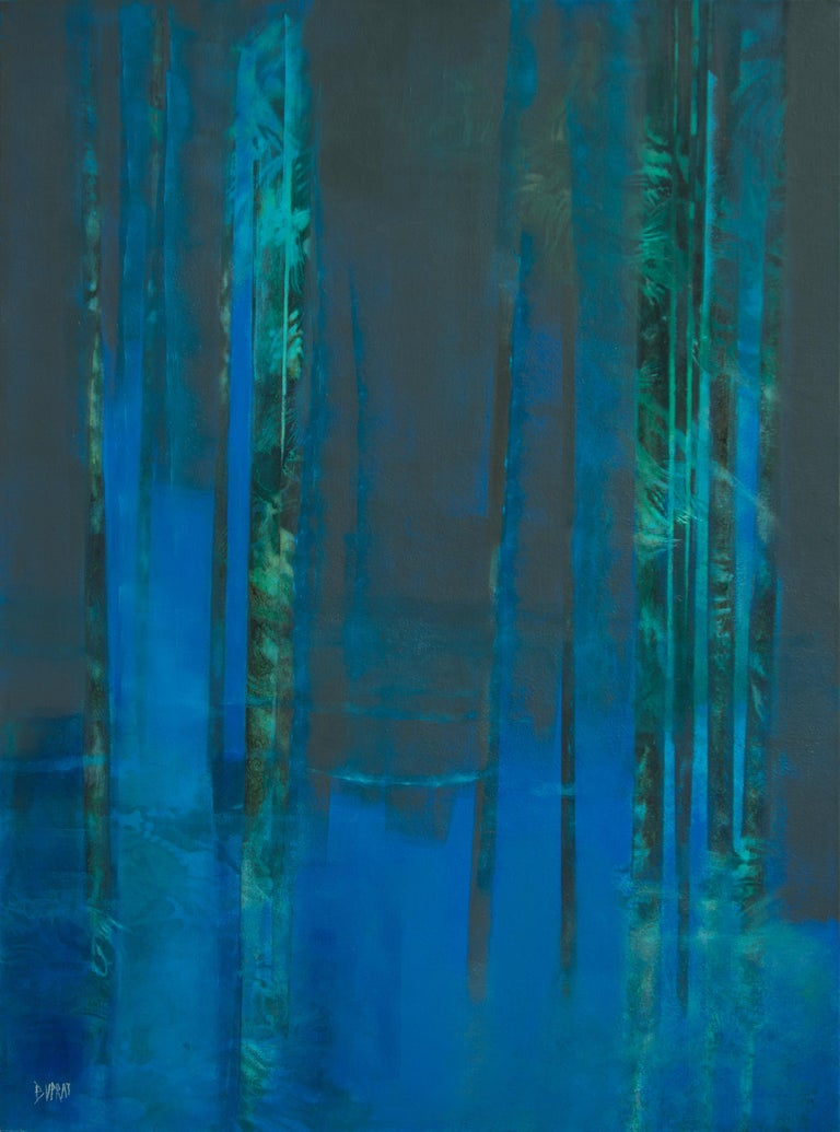 "Françoise Duprat Landscape Painting - ""Ô de la nuit"", Night Blue Forest Abstract Landscape Oil Painting"