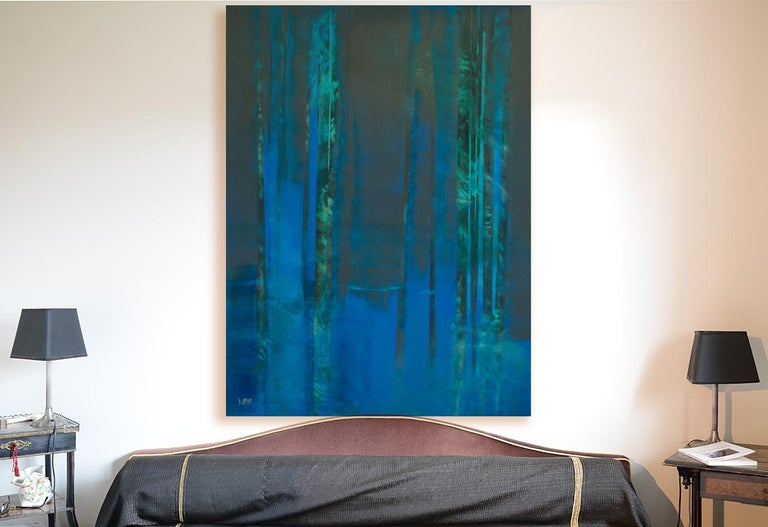 This large artwork figures a bamboo forest in the night.  The artist impasto technique is light, with textured painting and a few small reliefs.  This artwork is not framed.  Françoise Duprat is a French artist. She learned art at the Atelier Met de