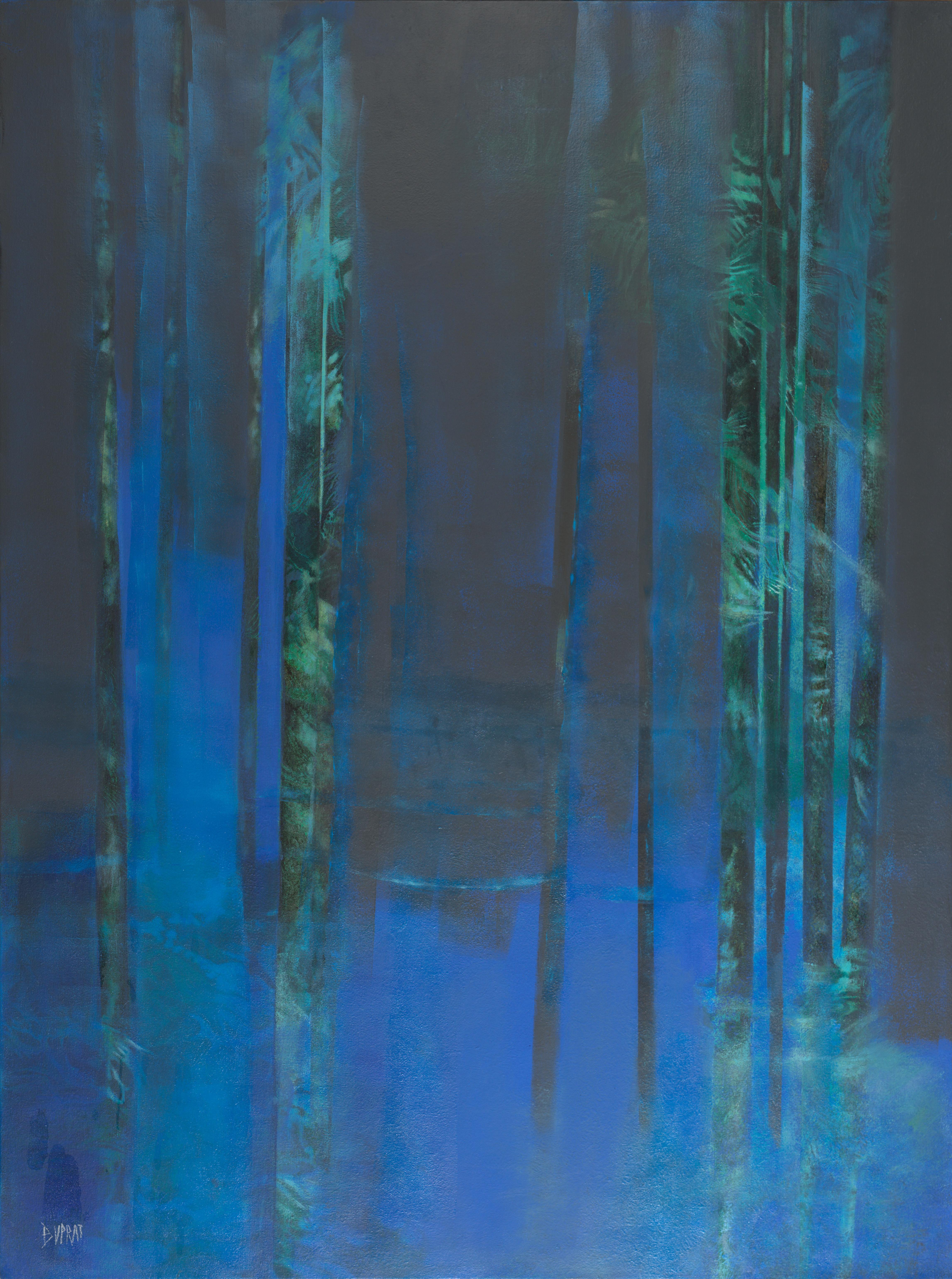 """""""Ô de la nuit"""", Night Blue Forest Abstract Landscape Oil Painting"""
