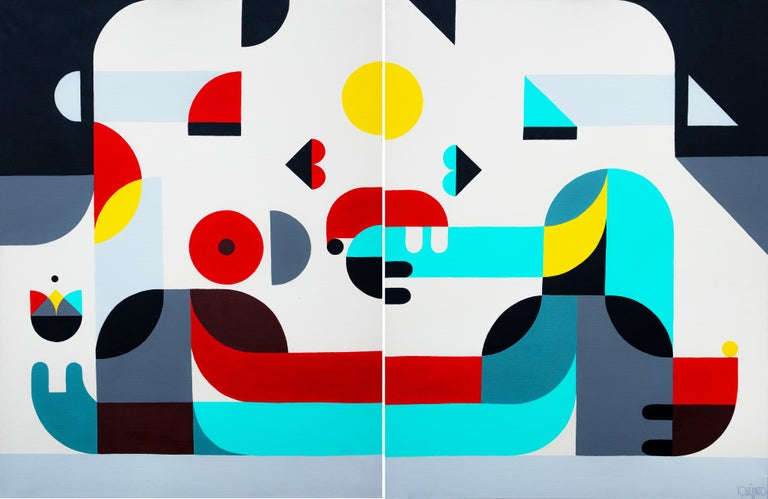 """Antony Squizzato Abstract Painting - """"Wide Kiss"""", Large Neue Constructivist Red Cyan Yellow Grey Acrylic Painting"""