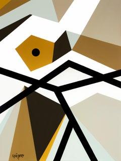 """Borders"" Vintage Colors Neue Constructivist Abstract Landscape Acrylic Painting"
