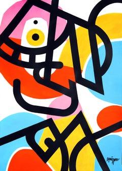 """Poquitoloco"", Vivid Neue Constructivist Abstract Landscape Acrylic Painting"