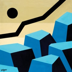 """Parallels"", Blue Ochre Neue Constructivist Abstract Landscape Acrylic Painting"