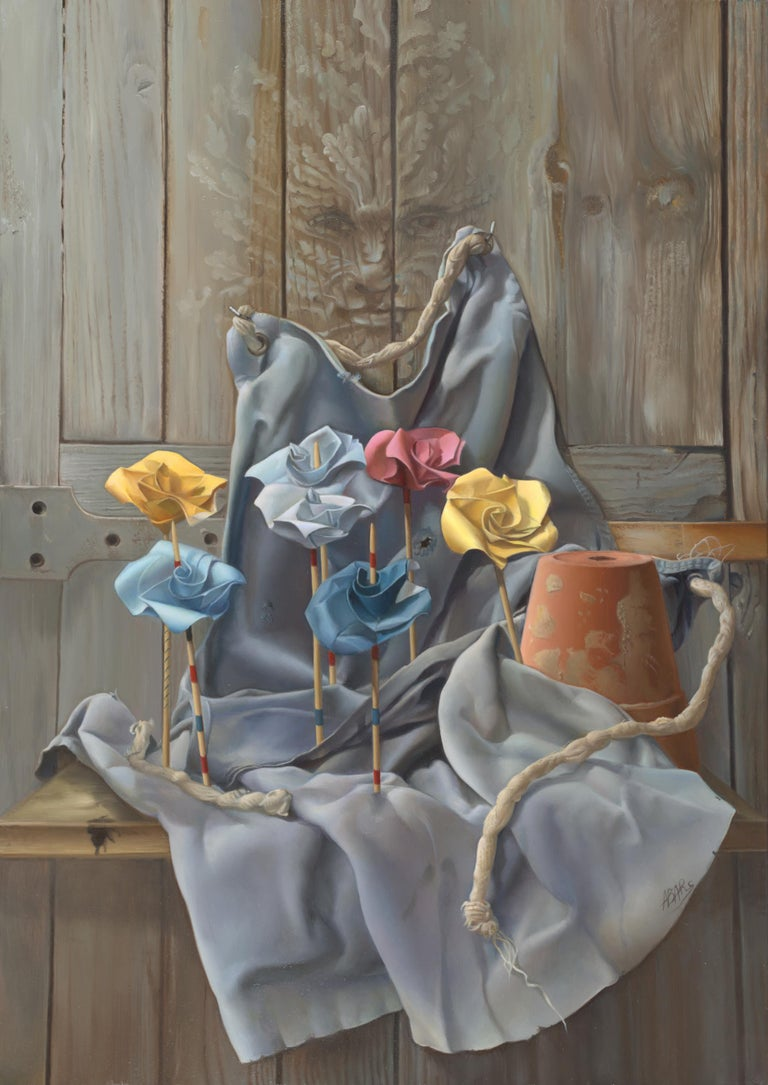 """Andrée Bars Figurative Painting - """"The Gardener's Will"""", Origami Flower, Yellow Blue Rose Symbolist Oil Painting"""