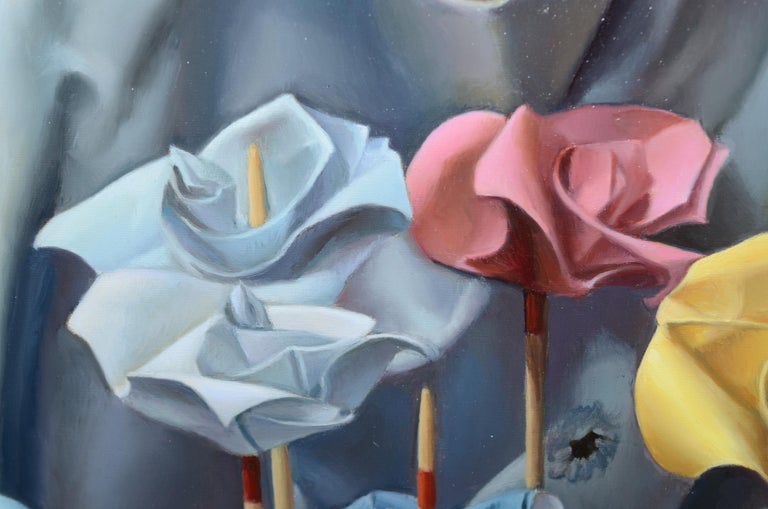 This oil painting by Andrée Bars imagines that the gardener's will may even makes paper flowers grow on