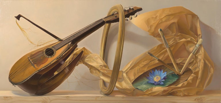"""Andrée Bars Figurative Painting - """"the Painter's Eye"""",  Violin, Blue Flower and Brush, Symbolist Oil Painting"""