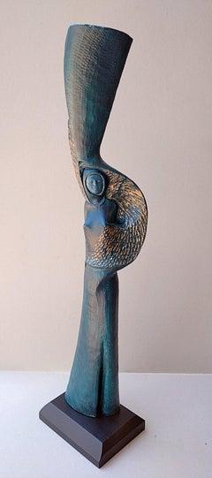 """"""" Woman with Bird """",  Blue Golden Figurative Abstract Oak Wood Sculpture"""