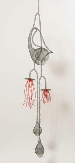 """Exotic Flower"", Transparent Metal Wire Figurative Pendant Mesh Sculpture"