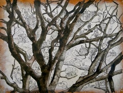 """""""Beech"""", Tree Inhabited by Human in Nature, Drawing and Watercolors on Paper"""