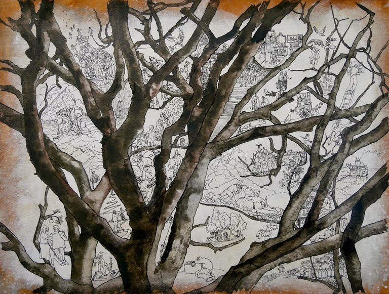 """Frank Girard Figurative Art - """"Beech"""", Tree Inhabited by Human in Nature, Drawing and Watercolors on Paper"""