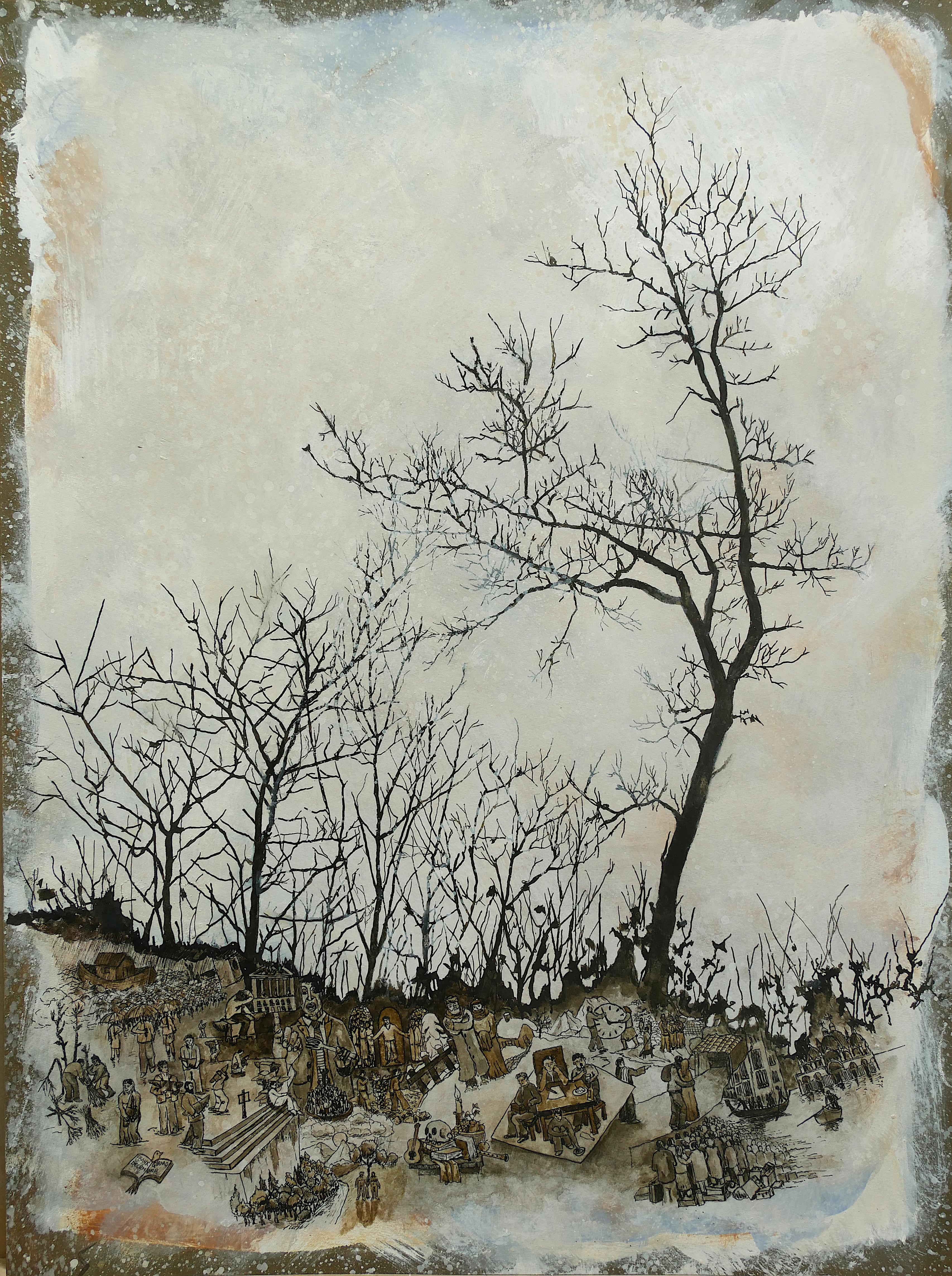 """""""December"""", Trees and Human in Nature, Pigments and Drawing on Paper"""